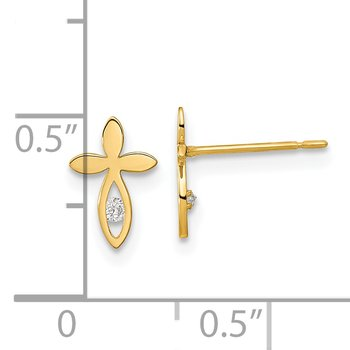 14k Madi K Kids CZ Cross Post Earrings