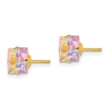 14k Madi K Multi-color CZ 6mm Square Post Earrings