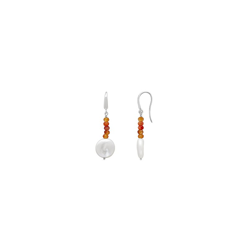 Honora Honora Sterling Silver 13-14mm White Coin Freshwater Cultured Pearl with Orange Chalcedonyx Bead Drop Earrings