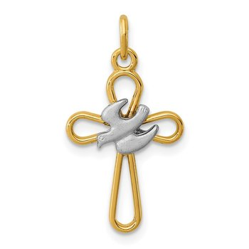 Sterling Silver Rhodium-plated & 18k Gold-plated Cross w/Dove Charm