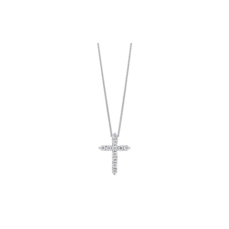 Gems One Diamond Cross Pendant in 10K White Gold (1/10 ct. tw.)