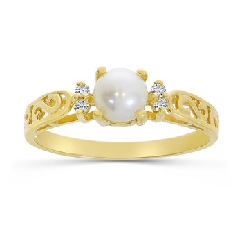14k Yellow Gold Freshwater Cultured Pearl And Diamond Filagree Ring