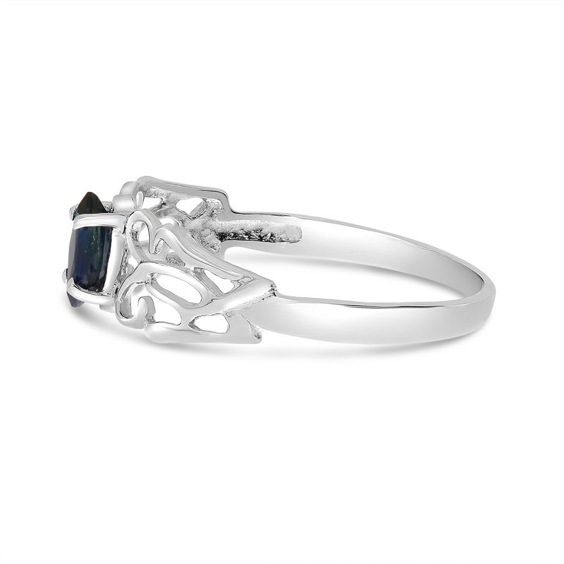 Color Merchants 10k White Gold Marquise Sapphire Filagree Ring