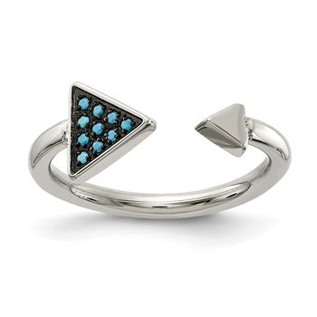 Stainless Steel Polished with Reconstructed Turquoise Triangle Ring