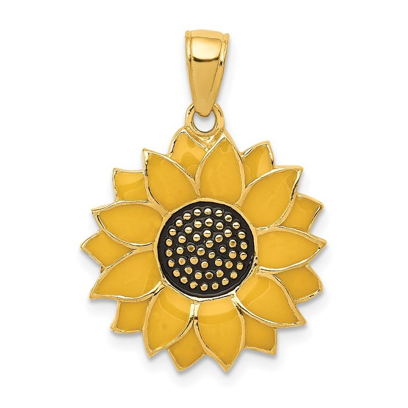 Quality Gold 14k Enameled Yellow Sunflower Pendant