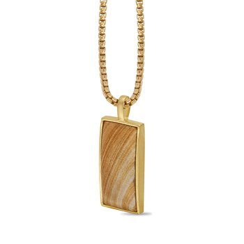 LuvMyJewelry Wood Jasper Stone Tag in Sterling Silver & 14 KT Yellow Gold Plating