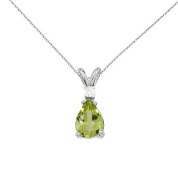 14k White Gold Pear Shaped Peridot and Diamond Pendant