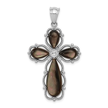 Sterling Silver Rhodium-plated Black Mother of Pearl Cross Pendant