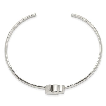 Sterling Silver Warped Double Heart Bangle