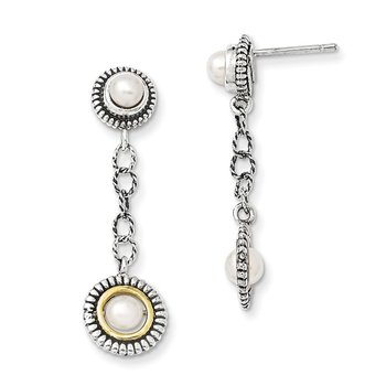 Sterling Silver w/14k 4 & 5mm FW Cultured Pearl Earrings