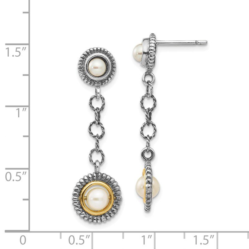 Shey Couture Sterling Silver w/14k 4 & 5mm FW Cultured Pearl Earrings