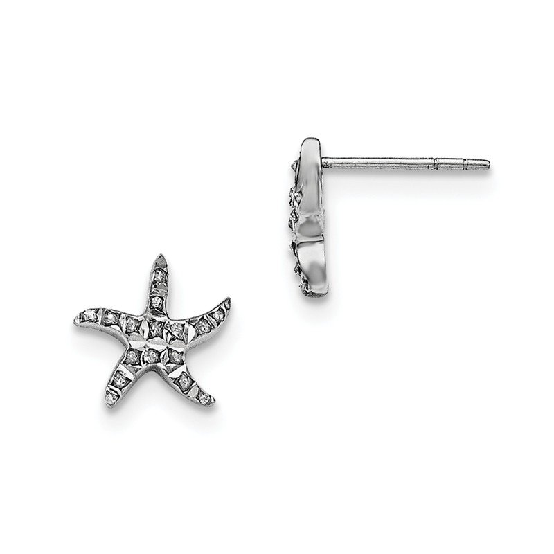 Quality Gold Sterling Silver Diamond Mystique Starfish Earrings