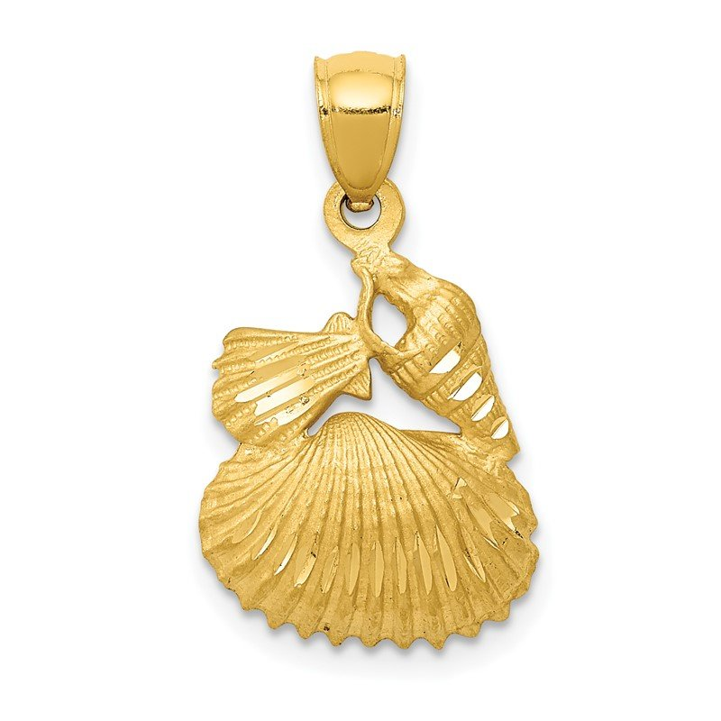 Quality Gold 14k Satin Diamond-cut Shell Pendant
