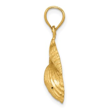 14k Satin Diamond-cut Shell Pendant