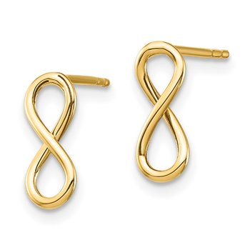 14K Polished Infinity Post Earrings