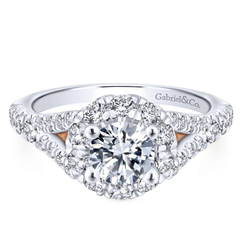 Gabriel Bridal Bestsellers 14K White-Rose Gold Round Halo Diamond Engagement Ring