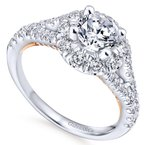 Gabriel Bridal 14K White-Rose Gold Round Halo Diamond Engagement Ring