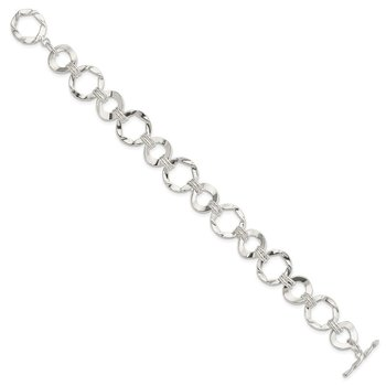 Sterling Silver Fancy Circle Link Bracelet