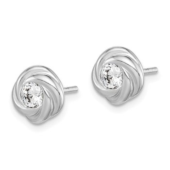 Sterling Silver Rhodium Plated CZ Knot Post Earrings