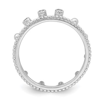 Sterling Silver Rhodium-Plated CZ Crown Ring