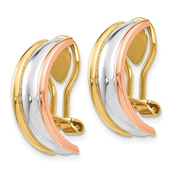 14k TRI COLOR NON-PIERCED EARRINGS