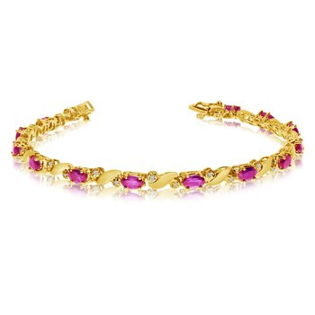 14k Yellow Gold Natural Pink-Topaz And Diamond Tennis Bracelet
