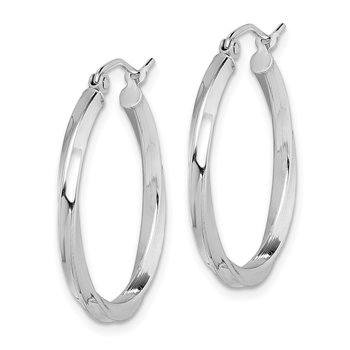Sterling Silver Rhodium-plated Twisted 2.5x25mmHoop Earrings