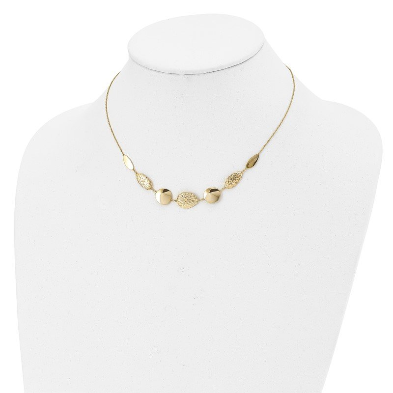Leslie's Italian Gold Leslie's 14K Polished D/C with 2in ext. Necklace