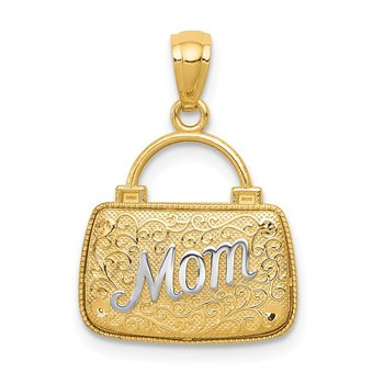14K w/Rhodium 3D Reversible Mom Handbag Pendant