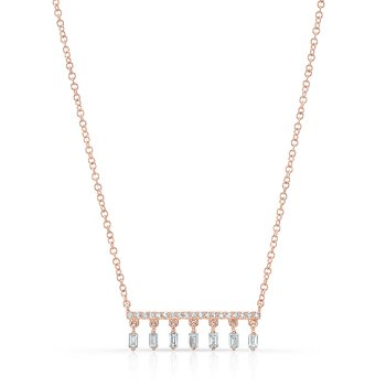 Rose Gold Dangling Baguette Bar Necklace