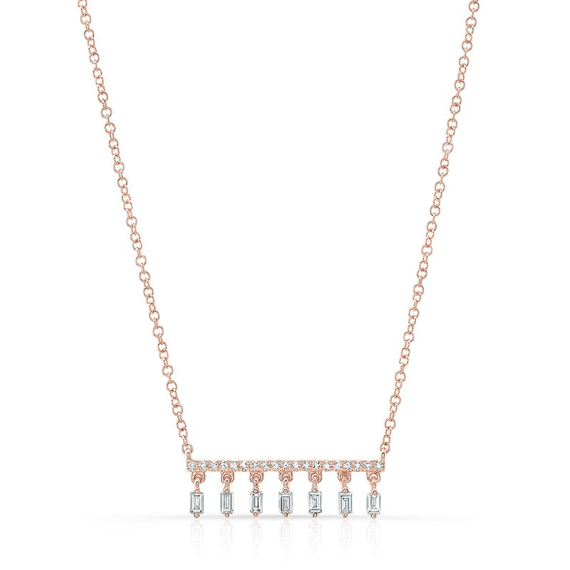 Robert Palma Designs Rose Gold Dangling Baguette Bar Necklace