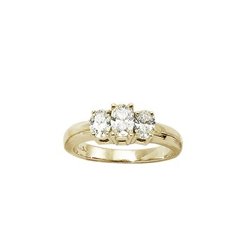 14k Yellow Gold 1ct  3 Stone Oval Diamond Ring