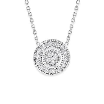 Diamond Antique Halo Style Necklace in 14K White Gold with 18 Diamonds Weighing .18ct tw.