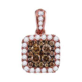 14kt Rose Gold Womens Round Cognac-brown Color Enhanced Diamond Square Pendant 1.00 Cttw