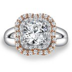Caro74 Diamond Halo Engagement Ring Mounting in 14K White/Rose Gold with Platinum Head (1/2 ct. tw.)