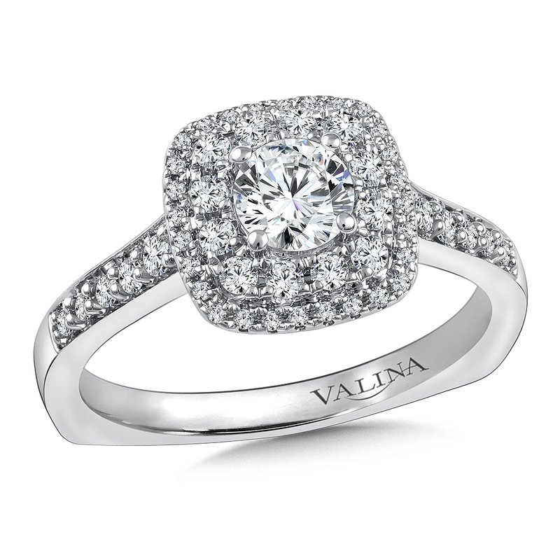 Valina Halo Engagement Ring Mounting in 14K White Gold (0.36 ct. tw.)
