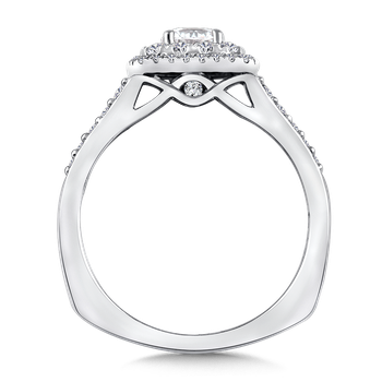 Halo Engagement Ring Mounting in 14K White Gold (0.36 ct. tw.)