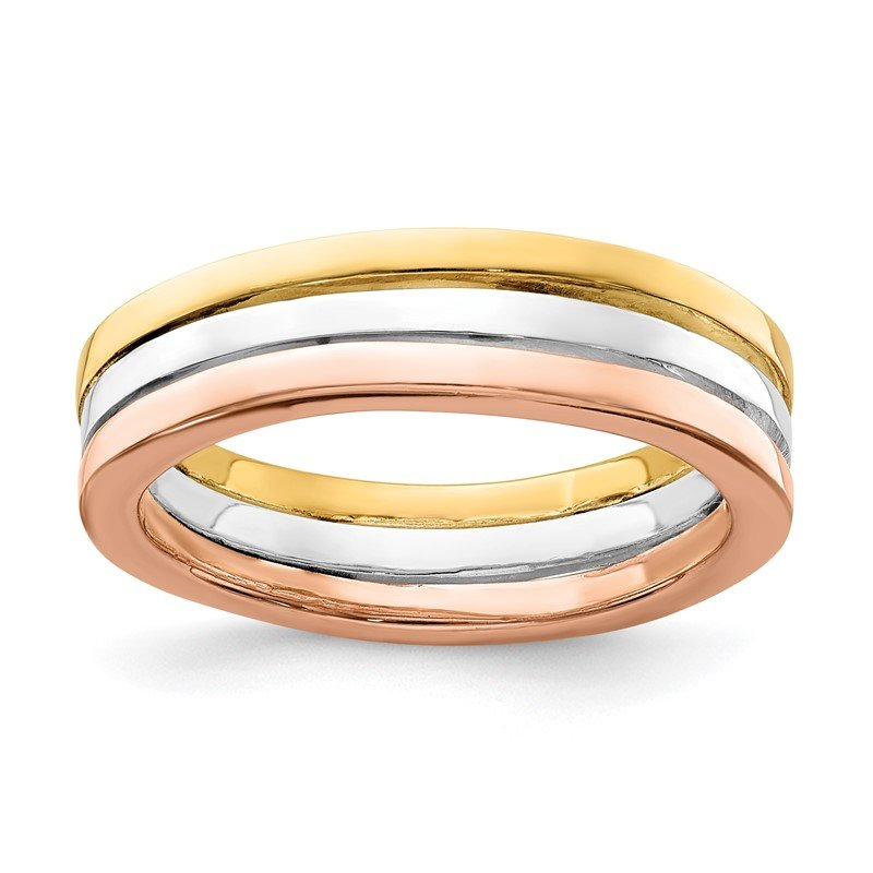 Quality Gold Sterling Silver Polished Gold and Rose-tone 3 Band Set of Rings