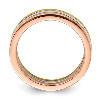 Sterling Silver Polished Gold and Rose-tone 3 Band Set of Rings