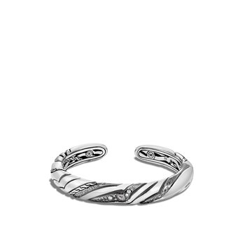 Lahar 9MM Kick Cuff in Silver with Diamonds