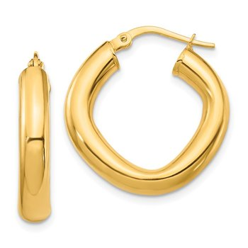 14K Small 2x4mm Thick Round Tube Square Shape Hoop Earrings