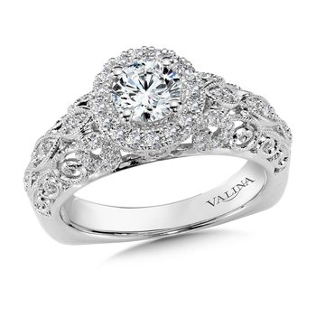 Diamond Halo Engagement Ring Mounting in 14K White/Rose Gold (.37 ct. tw.)
