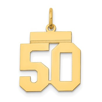 14k Small Polished Number 50 Charm