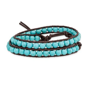 4mm Dyed Turquoise Leather Cord Multi Wrap Bracelet