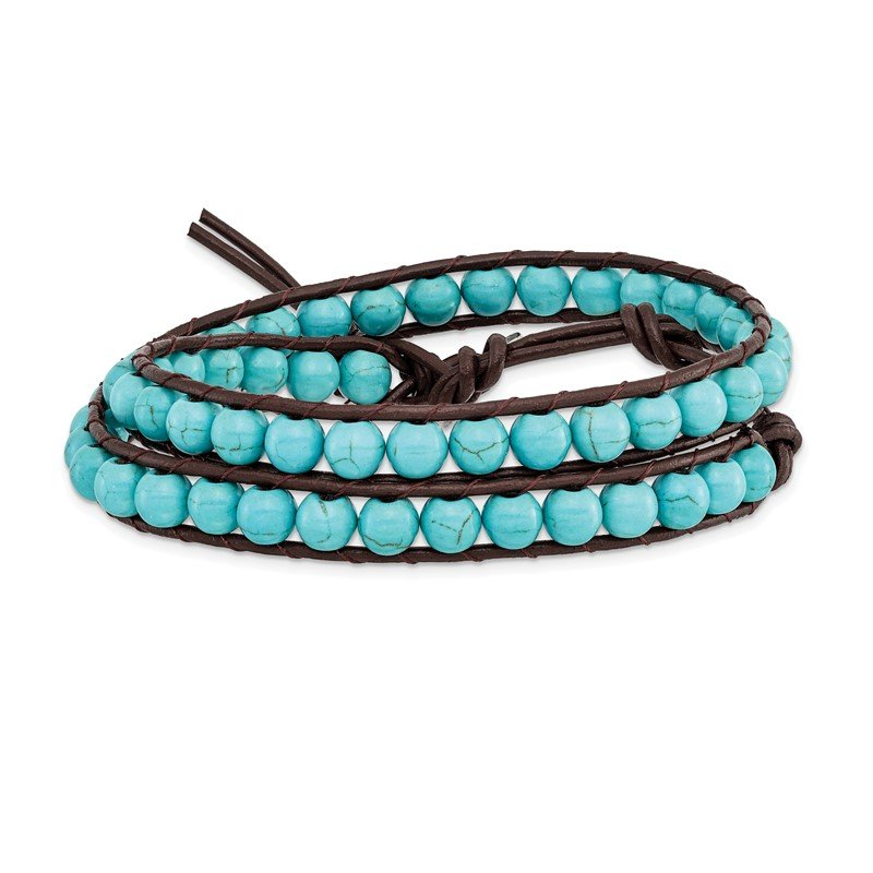 Quality Gold 4mm Dyed Turquoise Leather Cord Multi Wrap Bracelet