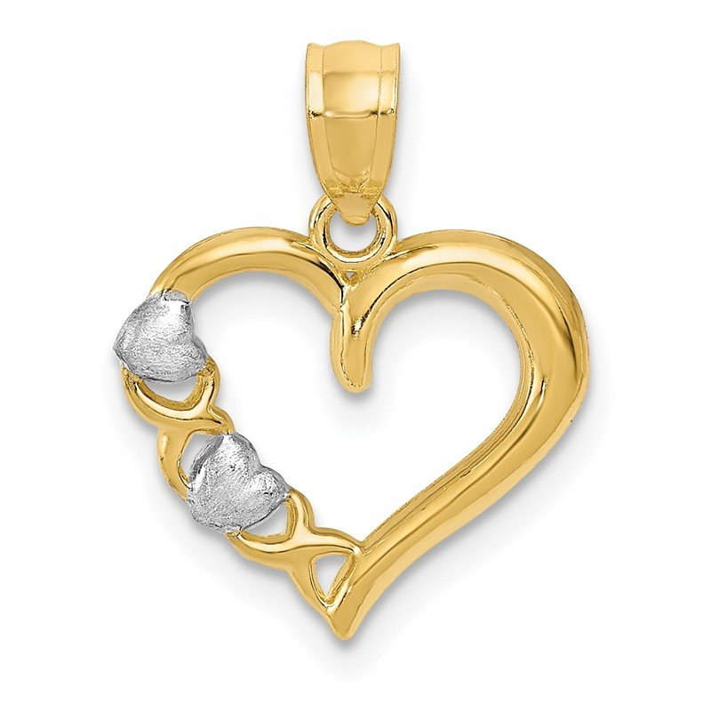Quality Gold 14Kw/White Rhodium Polished Heart and -X- Pendant