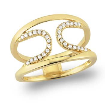 14K Gold and Diamond U shaped Ring