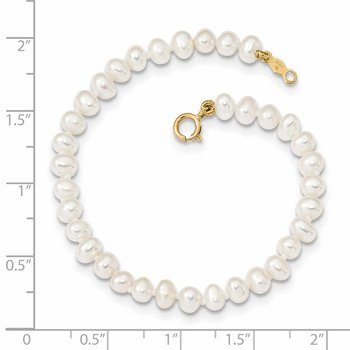 14k Madi K 3-4mm White Egg Shape FW Cultured Pearl Bracelet
