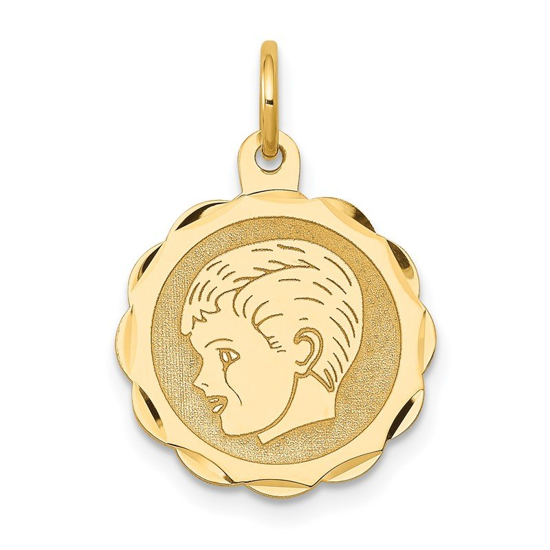 Quality Gold 14k Boy Head on .013 Gauge Engravable Scalloped Disc Charm