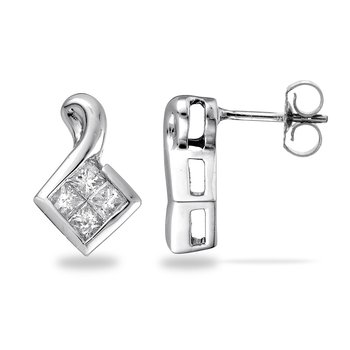 14K WHITE GOLD - PRINCESS SETTING WITH BUTTERFLY BACKI
